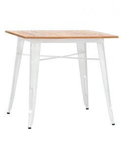 Amelie Table Premium White – Teak Top