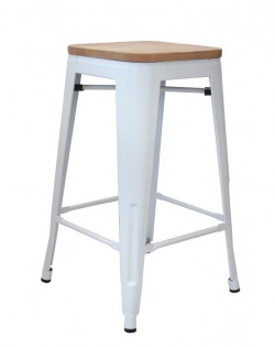 Amelie Stool 75cm – White/Ash Wood Seat