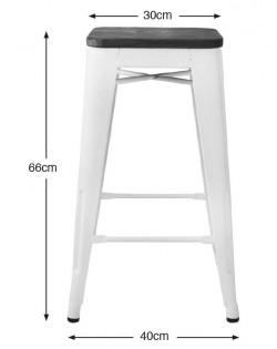 Amelie Stool 66cm – Matt Black/Ash Wood Seat