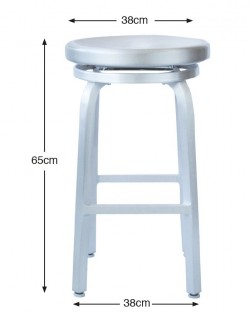 Round Swivel Stool 65cm – Brushed Aluminium