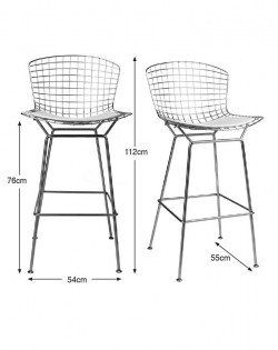 Replica Harry Bertoia Barstool 76 cm – White Seat